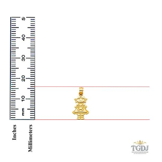 Top Gold & Diamond Jewelry 14K Yellow Gold Girl with Doll Pendant Image 1