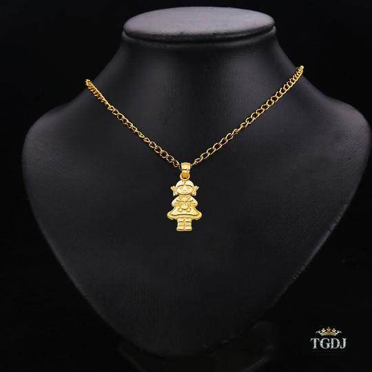 Top Gold & Diamond Jewelry 14K Yellow Gold Girl with Doll Pendant Image 2