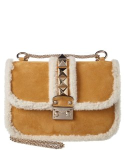 Valentino Rockstud Shearling Fur Studded Shoulder Bag