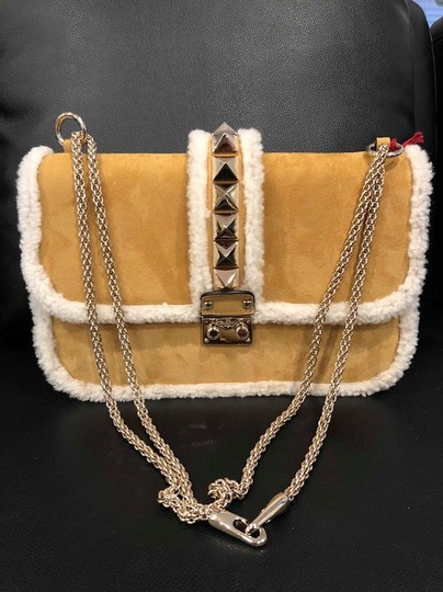 Valentino Rockstud Shearling Fur Studded Shoulder Bag Image 1