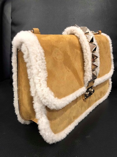 Valentino Rockstud Shearling Fur Studded Shoulder Bag Image 5