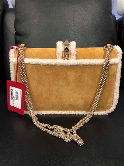 Valentino Rockstud Shearling Fur Studded Shoulder Bag Image 6