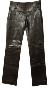 Chanel Leather Straight Pants Dark Brown