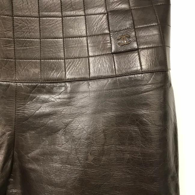 Chanel Leather Straight Pants Dark Brown Image 1