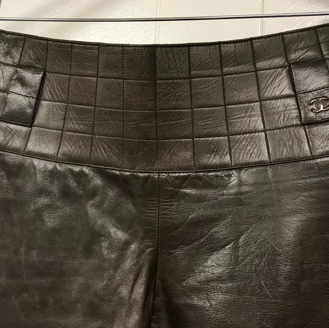 Chanel Leather Straight Pants Dark Brown Image 2