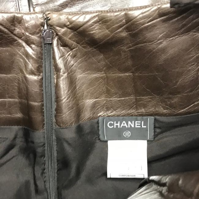 Chanel Leather Straight Pants Dark Brown Image 5
