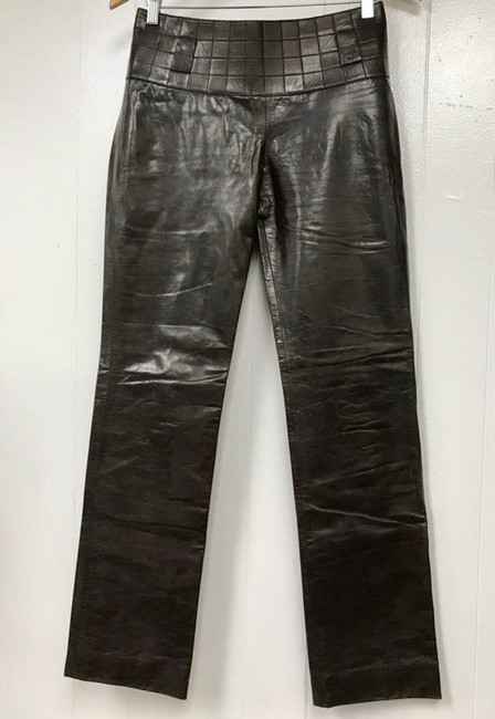 Chanel Leather Straight Pants Dark Brown Image 7