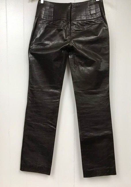 Chanel Leather Straight Pants Dark Brown Image 8