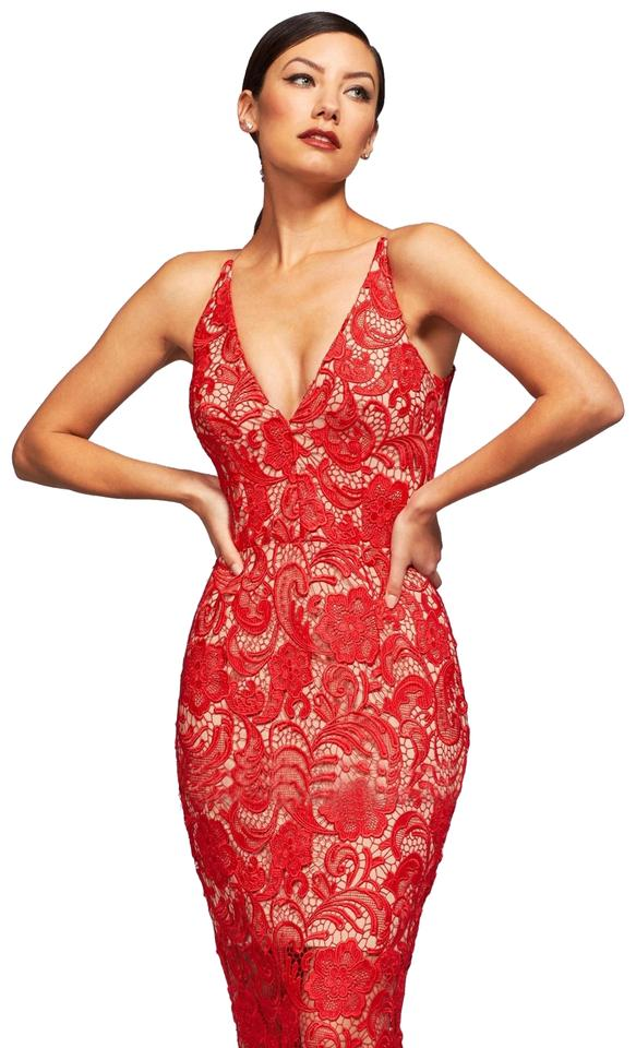 f7655342a576 Dress the Population Red Cherry Lace Sexy Mid-length Cocktail Dress ...