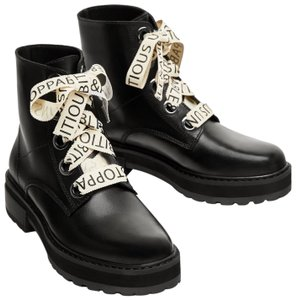 Zara Slogan Combat Positive Words Heeled Dior black Boots