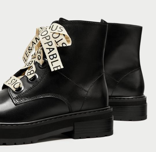 Zara Slogan Combat Positive Words Heeled Dior black Boots Image 2