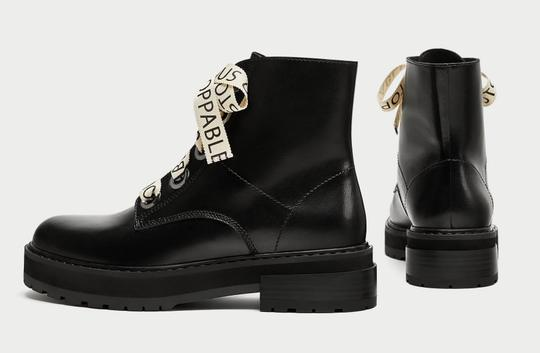 Zara Slogan Combat Positive Words Heeled Dior black Boots Image 4