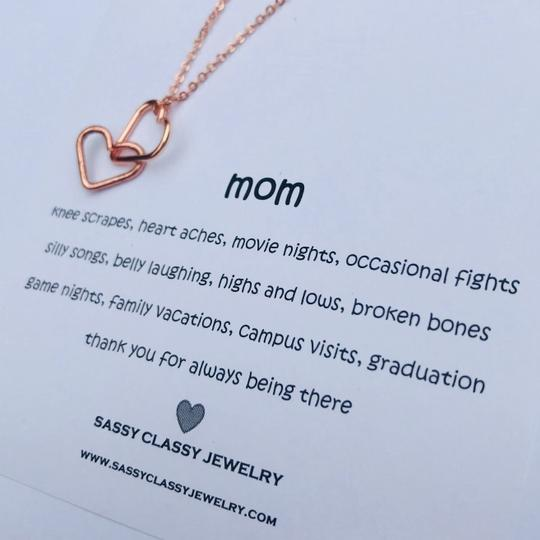 Sassy Classy Jewelry Mothers Day Interlocking Hearts Necklace Gift for Mom Jewelry Daughter Image 1