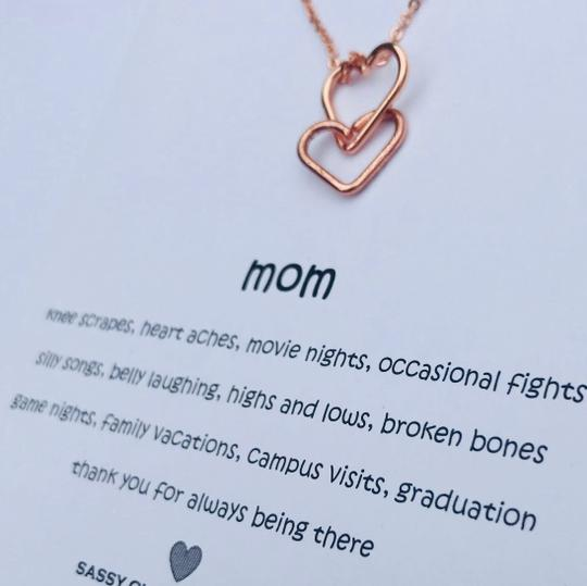 Sassy Classy Jewelry Mothers Day Interlocking Hearts Necklace Gift for Mom Jewelry Daughter Image 2