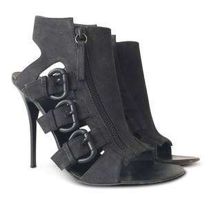 Giuseppe Zanotti Nubuck Open Toe Stiletto Leather Ankle Black Sandals