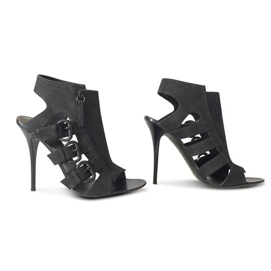 Giuseppe Zanotti Nubuck Open Toe Stiletto Leather Ankle Black Sandals Image 3
