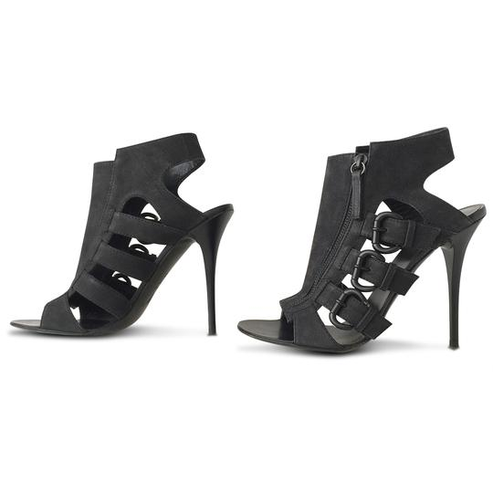 Giuseppe Zanotti Nubuck Open Toe Stiletto Leather Ankle Black Sandals Image 4