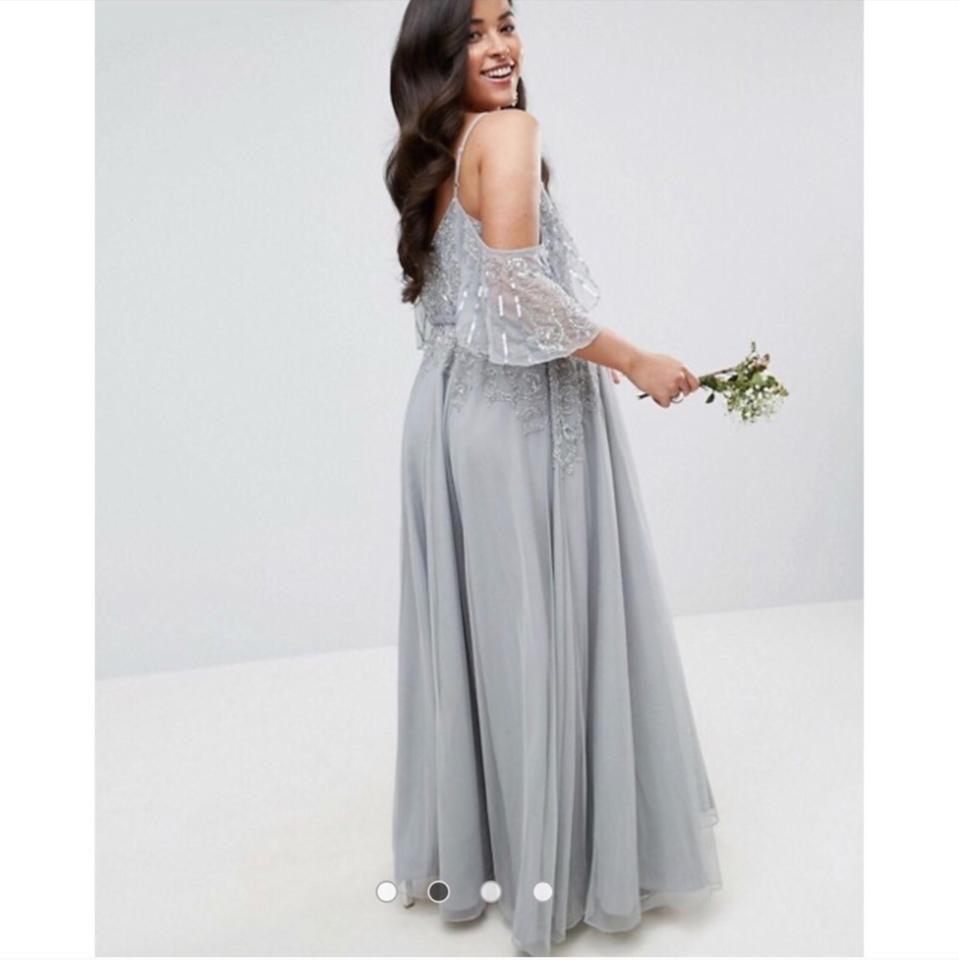 Asos Silver Blue Maternity Off The Shoulder Sequined Long Formal