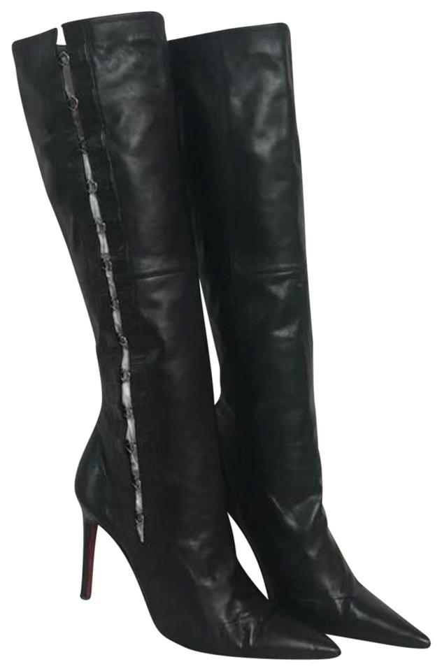 701bd374a3f Christian Louboutin Black Hook and Eye Closure Leather Boots Booties ...