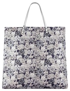Chanel Shoulder Shopping Cat Emoji Tote in silver