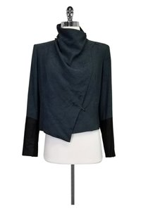 Helmut Lang Leather Trim Teal Jacket