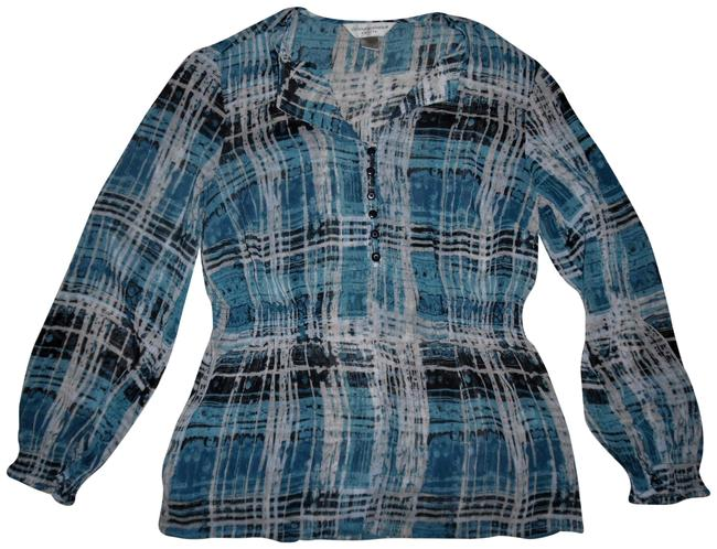 Preload https://img-static.tradesy.com/item/22920750/christopher-and-banks-blue-white-black-abstract-plaid-buttons-sheer-peasant-blouse-size-petite-6-s-0-1-650-650.jpg