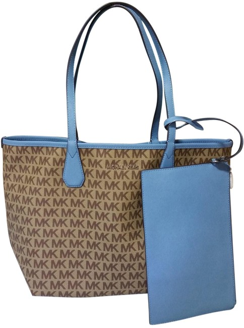 Item - Reversible Candy W Saige W/Pouch Sk Blue Beige Canvas Tote