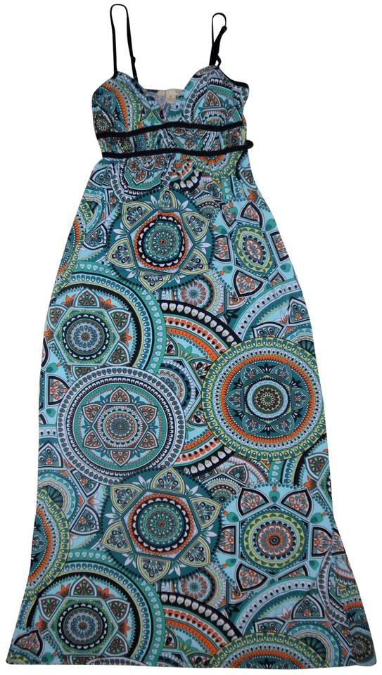 Forever 21 Black Teal Yellow Orange Blue Abstract Boho Print Empire