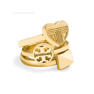 Tory Burch NEW 16K Gold Plated Adeline Stackable Ring Set of 3