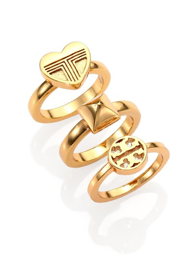 Tory Burch NEW 16K Gold Plated Adeline Stackable Ring Set of 3 Image 1