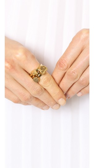 Tory Burch NEW 16K Gold Plated Adeline Stackable Ring Set of 3 Image 4
