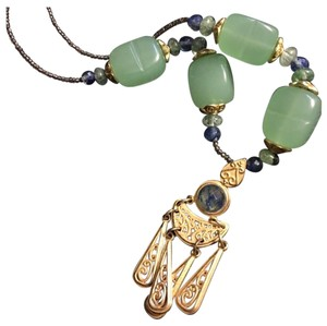 Queenesthershop Artisan Long Length Necklace With Jade