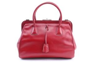 Prada Bowling Doctors Kisslock Frame Speedy Satchel in Red