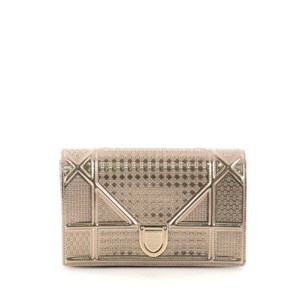 ad68b1644b6c Dior Diorama Wallet On Chain Cannage Embossed Gold Calfskin Clutch ...