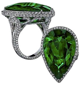 Unique Couture Ladies Emerald and White Sapphire Sterling Silver