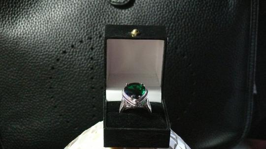 Unique Couture Ladies Emerald and White Sapphire Sterling Silver Image 1