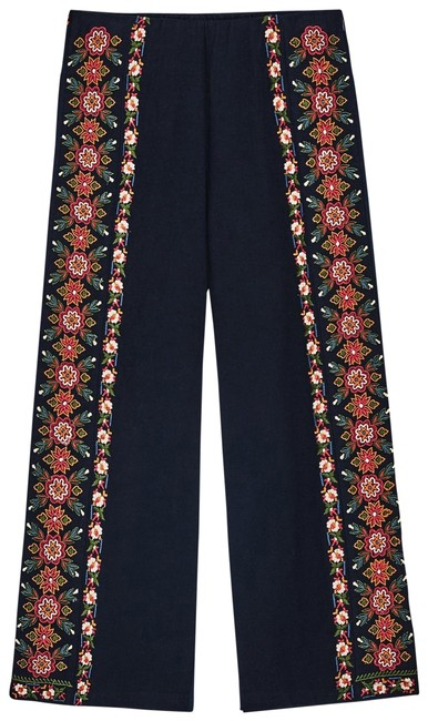 Item - Navy Red Orange Amber White Embroidered Culottes Blue Small Capris Size 4 (S, 27)