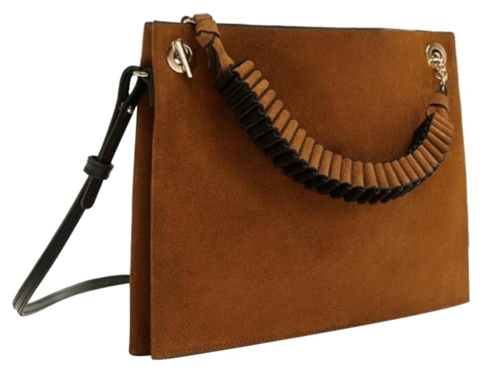 25ab6e66c2 Zara Split Suede Clutch with Strap Detail Brown Black Gold Leather Cross  Body Bag