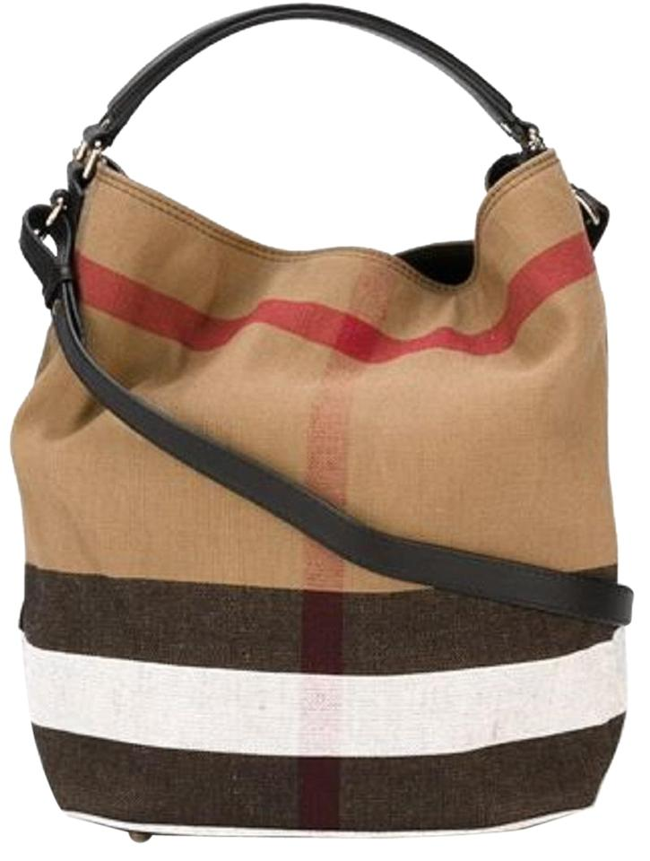 Burberry The Medium Ashby In Canvas Check and Leather Black Hobo Bag 6% off retail