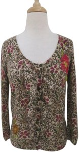 Anthropologie Animal Print Floral Print Cardigan 3/4 Sleeve Ruffle Sweater
