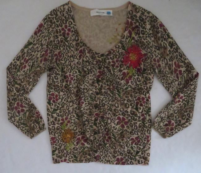 Anthropologie Animal Print Floral Print Cardigan 3/4 Sleeve Ruffle Sweater Image 1