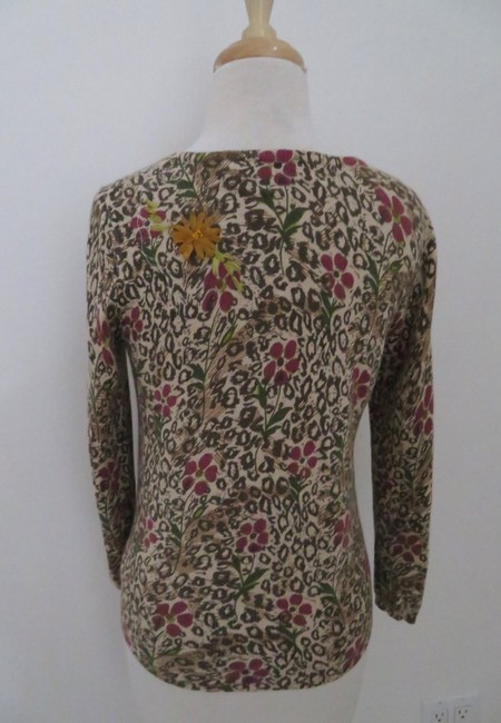 Anthropologie Animal Print Floral Print Cardigan 3/4 Sleeve Ruffle Sweater Image 2