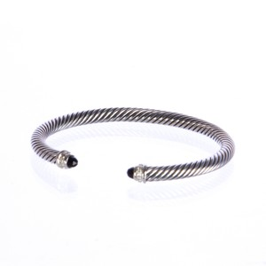 David Yurman Cable Classics Bracelet with Black Onyx and Diamonds 5mm Sz M $625