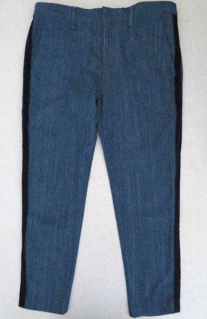 Rag & Bone Cropped Straight Chino Denim Relaxed Fit Jeans-Medium Wash Image 3