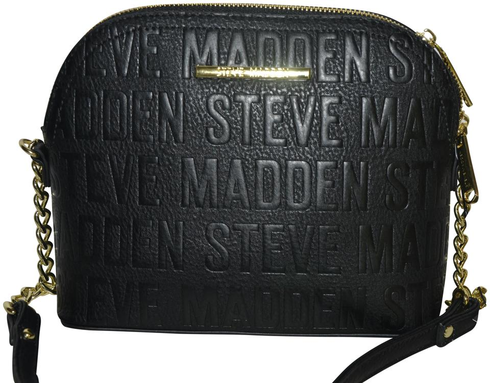 ffd7aa619d5 Steve Madden Bmarlyn Purse Black Gold Faux Leather Cross Body Bag ...
