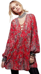 Free People short dress Red Longsleeve Floral Print Shift on Tradesy