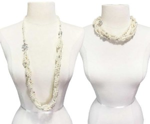 Chanel Silver Gold Cc Crystal Ball Twisted Multi Strand Faux Pearl Necklace Bracelet