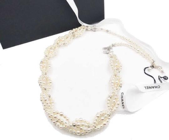 Chanel Silver Gold Cc Crystal Ball Twisted Multi Strand Faux Pearl Necklace Bracelet Image 1