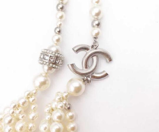 Chanel Silver Gold Cc Crystal Ball Twisted Multi Strand Faux Pearl Necklace Bracelet Image 3