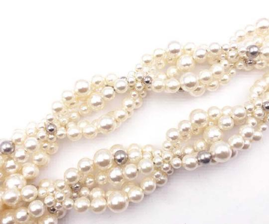 Chanel Silver Gold Cc Crystal Ball Twisted Multi Strand Faux Pearl Necklace Bracelet Image 5